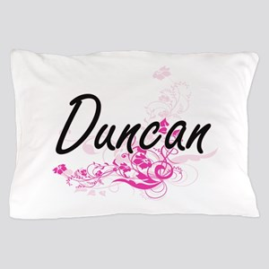 Duncan surname artistic design with Fl Pillow Case