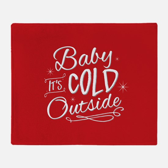Baby It's Cold Outside [red] Throw Blanket