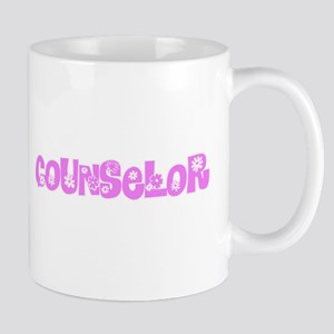 Counselor Pink Flower Design Mugs