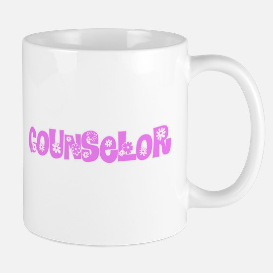 Counselor Pink Flower Design Mugs