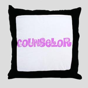 Counselor Pink Flower Design Throw Pillow