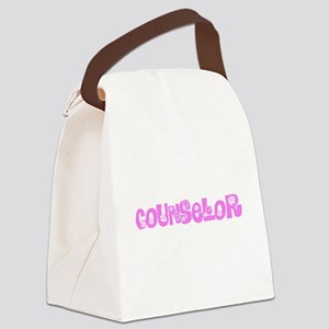 Counselor Pink Flower Design Canvas Lunch Bag