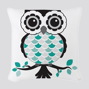Teal Owl Woven Throw Pillow