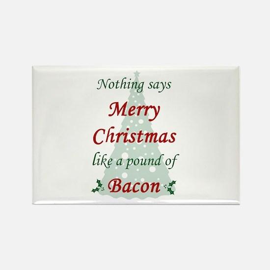 Christmas Bacon Rectangle Magnet