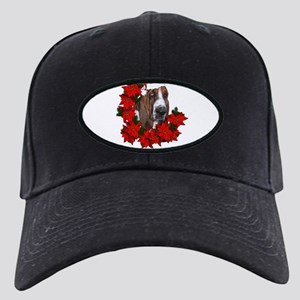 basset with christmas hat and poinsettias for dark