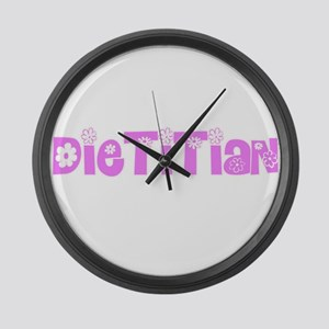 Dietitian Pink Flower Design Large Wall Clock
