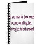 Are your words random? Journal