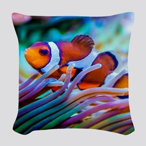 Clownfish Woven Throw Pillow