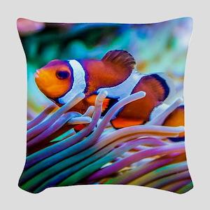 Clownfish Woven Throw Pillow