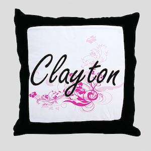 Clayton surname artistic design with Throw Pillow
