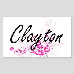 Clayton surname artistic design with Flowe Sticker