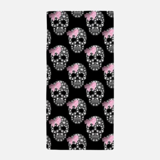 DIAMOND DIVA SKULLS Beach Towel
