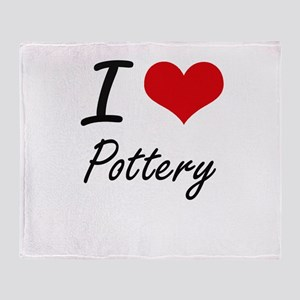 I Love Pottery Throw Blanket