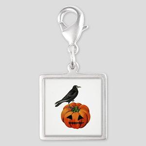 vintage halloween crow pumpkin Charms