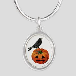 vintage halloween crow pumpkin Necklaces