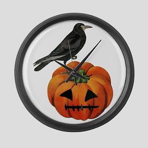 vintage halloween crow pumpkin Large Wall Clock