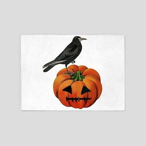 vintage halloween crow pumpkin 5'x7'Area Rug