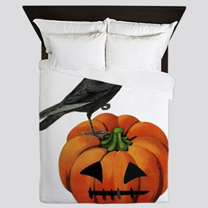 vintage halloween crow pumpkin Queen Duvet
