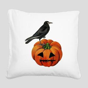 vintage halloween crow pumpki Square Canvas Pillow