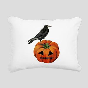 vintage halloween crow p Rectangular Canvas Pillow