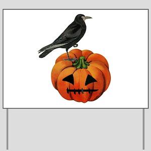 vintage halloween crow pumpkin Yard Sign