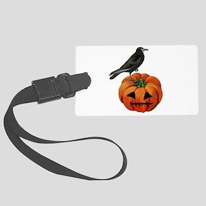 vintage halloween crow pumpkin Large Luggage Tag