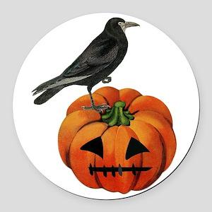 vintage halloween crow pumpkin Round Car Magnet