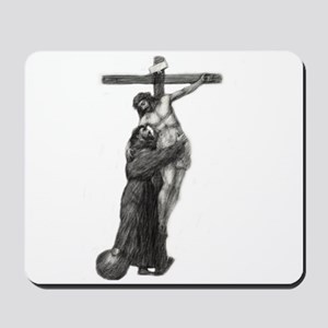 St. Francis Embraces Jesus on Cross #3 Mousepad