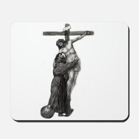 St. Francis Embraces Jesus on Cross #3 Mousepad