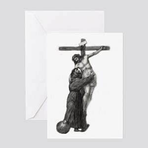 St. Francis Embraces Jesus on Cross Greeting Cards