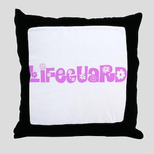 Lifeguard Pink Flower Design Throw Pillow
