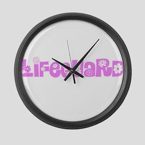 Lifeguard Pink Flower Design Large Wall Clock