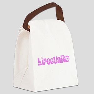 Lifeguard Pink Flower Design Canvas Lunch Bag
