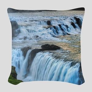 GULLFOSS WATERFALLS 2 Woven Throw Pillow