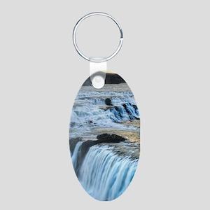 GULLFOSS WATERFALLS 2 Aluminum Oval Keychain