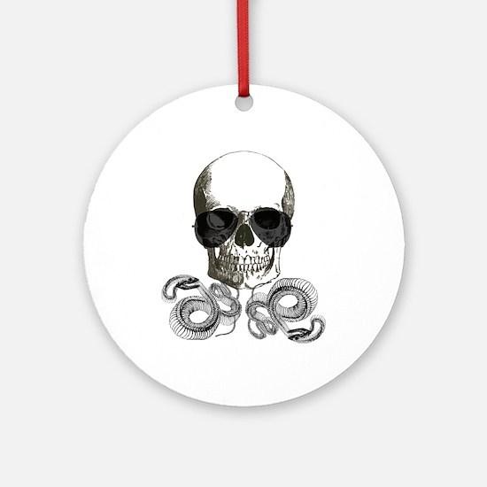 rock n roll skeleton skull Round Ornament