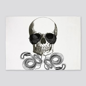 rock n roll skeleton skull 5'x7'Area Rug