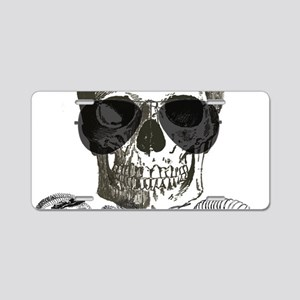 rock n roll skeleton skull Aluminum License Plate