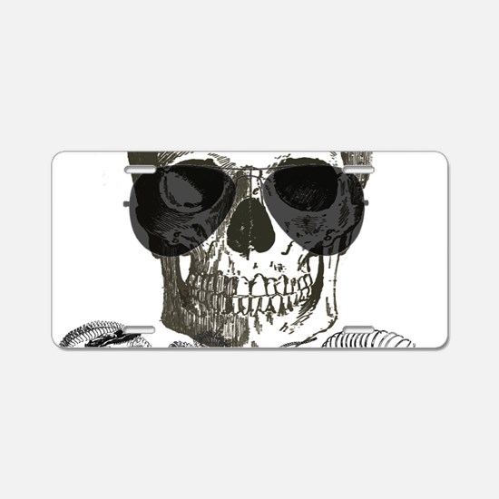 rock n roll skeleton skull Aluminum License Plate