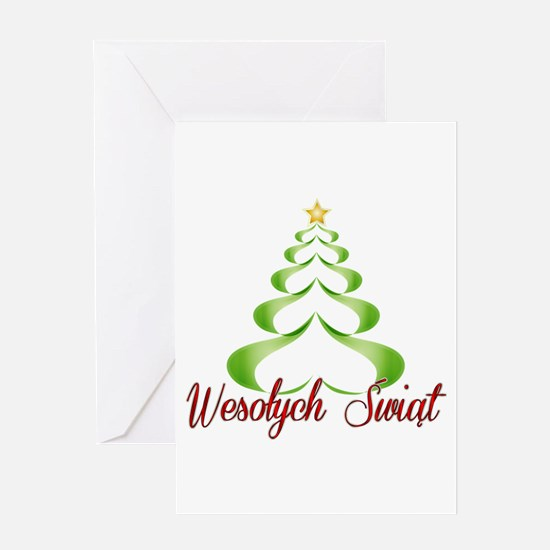 Wesolych Swiat Ribbon Tree Greeting Cards