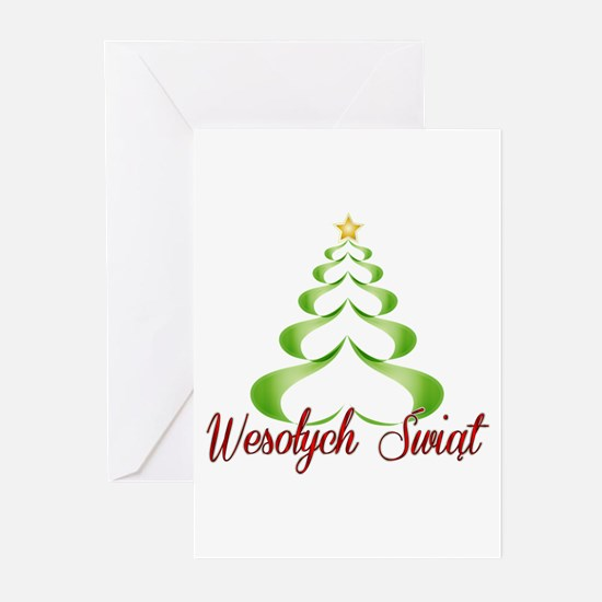 Wesolych Swiat Ribbon Tree Greeting Cards
