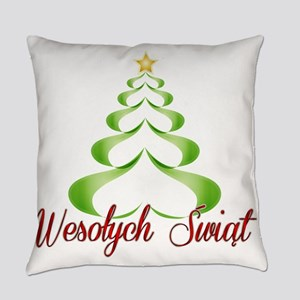 Wesolych Swiat Ribbon Tree Everyday Pillow