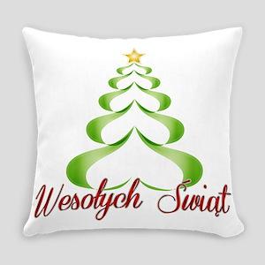 Wesolych Swiat Ribbon Tree Everyday Pillow
