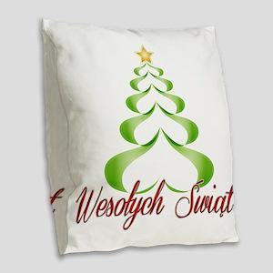 Wesolych Swiat Ribbon Tree Burlap Throw Pillow