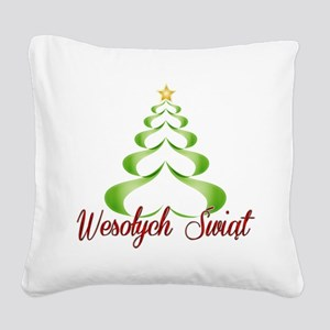 Wesolych Swiat Ribbon Tree Square Canvas Pillow