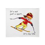 Skiing Throw Blanket