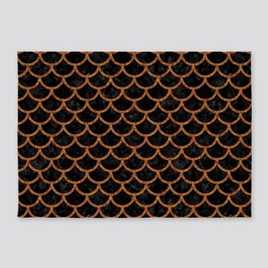 SCALES1 BLACK MARBLE & RUSTED METAL 5'x7'Area Rug
