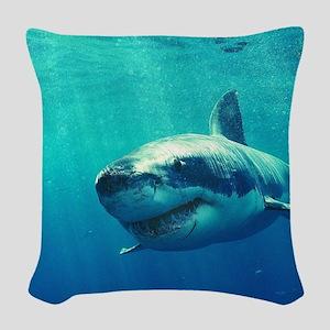 GREAT WHITE SHARK 1 Woven Throw Pillow