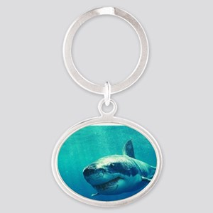 GREAT WHITE SHARK 1 Oval Keychain