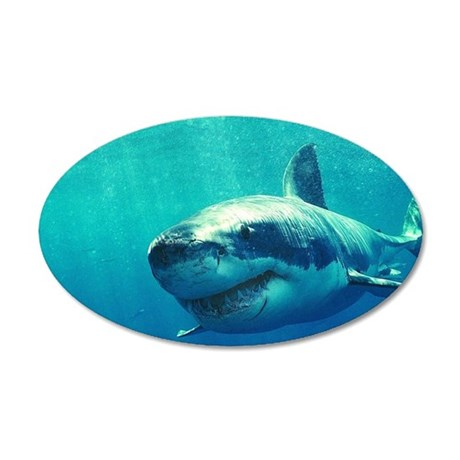 GREAT WHITE SHARK 1 20x12 Oval Wall Decal